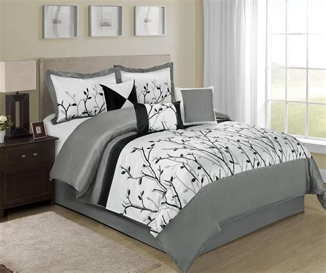 piece willow tree branches black white design bed