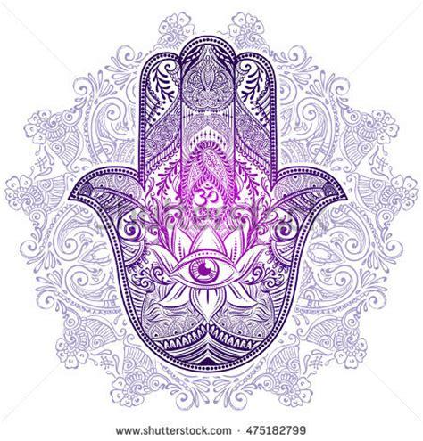 hand drawn ornate amulet hamsa hand stock vector