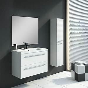 Set De Salle De Bain : meuble de salle de bain hera set 80 cm blanc avec colonne meubles salle de bain sanitaire ~ Teatrodelosmanantiales.com Idées de Décoration