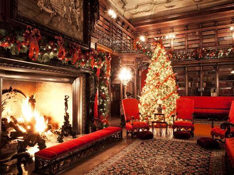 biltmore house library  christmas tree  fire hgtv