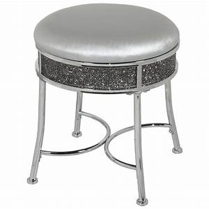 Hillsdale, Furniture, Roma, Backless, Faux, Diamond, Cluster, Vanity, Stool, Chrome