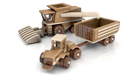 wood toy plans big john farm tractor trailer combine youtube