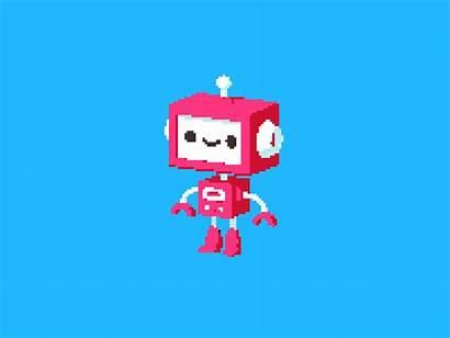 Robot Pixel Bit 4d Cinema Dribbble Dance
