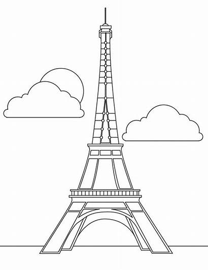 Eiffel Tower Coloring Pages Printable Paris Colouring