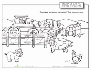 farm animals worksheet education 554 | farm animals coloring page places