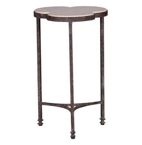 iron accent table whitman modern classic rustic limestone clover iron accent 1924