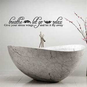BREATHE LET GO RELAX LETTERING BATH WORDS BATHROOM VINYL