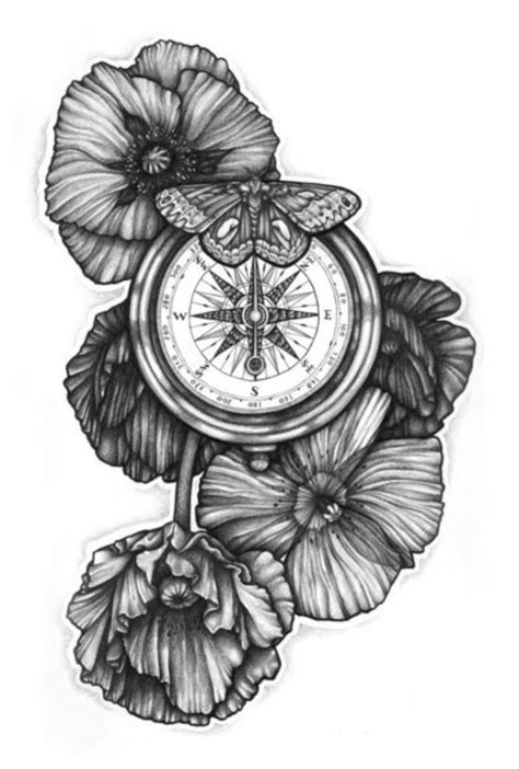 Tattoo Trends - Black And White Poppy Flowers With Compass And Butterfly Tattoo Design By Fhobik