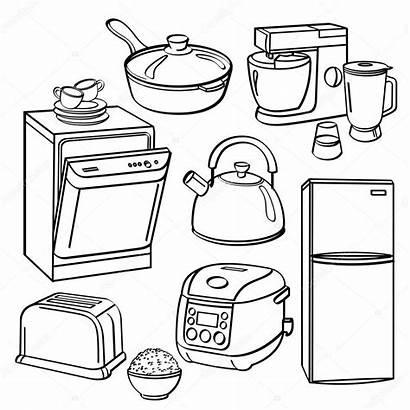 Kitchen Appliances Utensils Coloring Pages Illustration Sketch