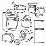 Kitchen Appliances Utensils Illustration Coloring Pages Sketch Stove Dryer Different Washer Depositphotos Club Tools Printable Illustrator Pdf Dishwasher Recipe Template sketch template