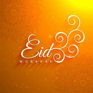 Beautiful eid festival orange background Vector | Free ...