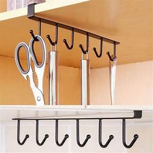 6, Hooks, Cup, Clothing, Holder, Hanger, Kitchen, Cabinet, Under, Shelf, Storage, Rack, Organiser, Black