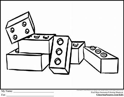 Lego Coloring Clipart Pages Brick Block Drawing