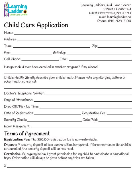 child care employment application form learning ladder forms
