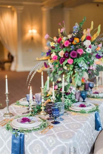 Bohemian Colorful Tablescapes Weddings Unique Luxe Boho