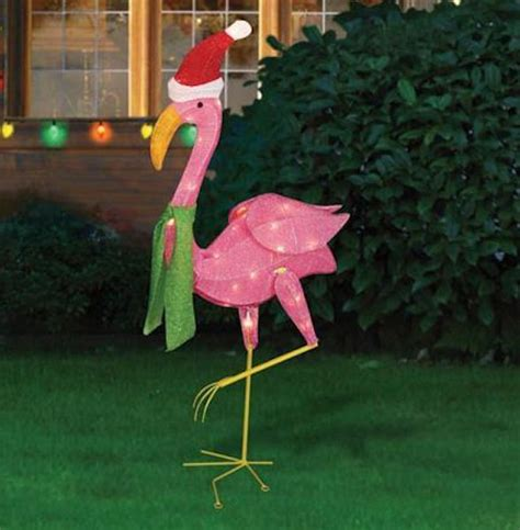 pink flamingo santa winter christmas lighted yard lawn