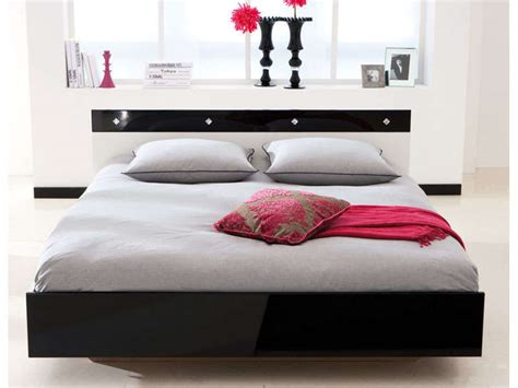 acheter une chambre lit 2 personnes 140 x 190 cm strass coloris blanc noir