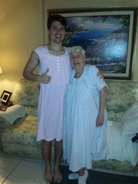 grandson  grandma wear matching nightgowns