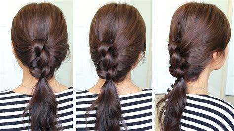 2 Min Knotted Ponytail Hairstyle Black Hair Media Short Hairstyles Quick Simple For Long Pixie Haircuts Square Face Shape Blonde Highlight Ideas 2016 Trendy Thin 2 Hot Rollers Tutorial On Top Sides Red Dye Warm Skin