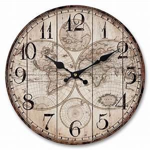Maison Du Monde Horloge Murale : stunning horloge murale en bois et mtal diamtre cm map monde with pendule murale maison du monde ~ Teatrodelosmanantiales.com Idées de Décoration