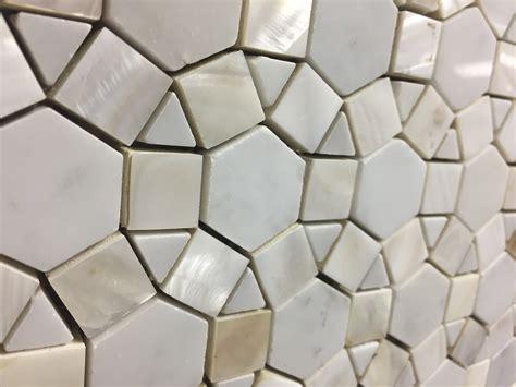 bloom water jet mosaic tile  white shell  italian