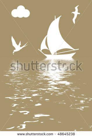 stock vector : vector illustration sailboat in ocean ...