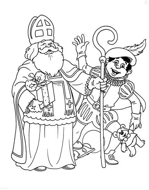 Kleurplaat Piet En Sint by Kleurplaat Zwaaiende Sinterklaas En Zwarte Piet