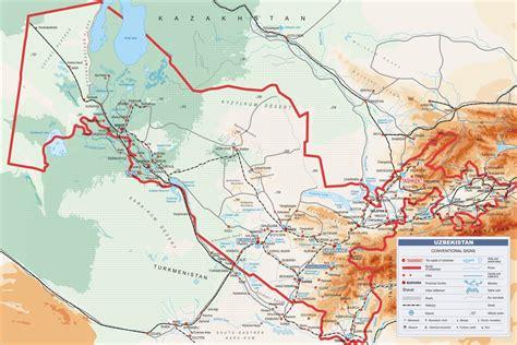 uzbekistan map political map   republic  uzbekistan