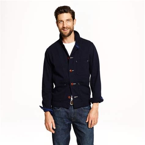 wallace and barnes lyst j crew wallace barnes knit chore coat in blue for