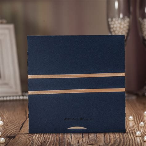 cheap navy laser cut wedding invitations  gold ribbon