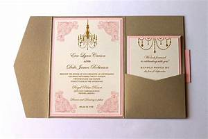 eva pocket fold vintage wedding invitation ivory gold With wedding invitations with pocket folds