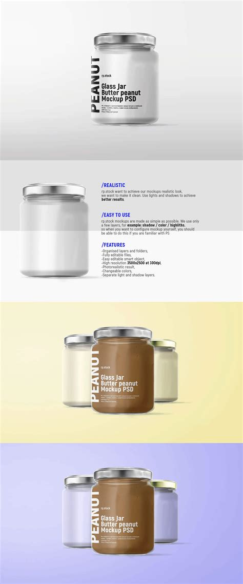 The psd file allows you to change all elements and come with many customization options. Free Glass Jar Butter Peanut Mockup PSD ~ Creativetacos