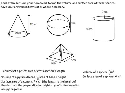 volume and surface area of spheres pyramids cones and
