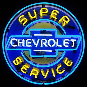 Chevrolet Super Service Neon Sign with Backing ChevyMall