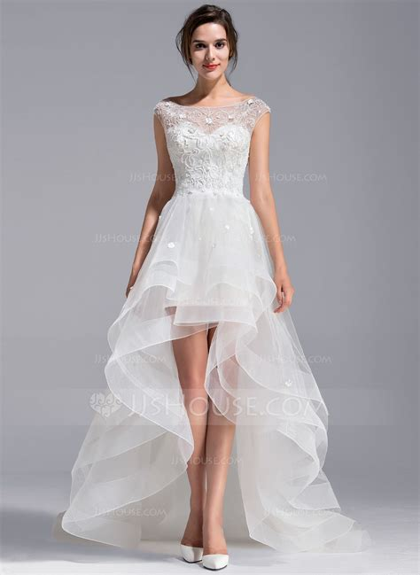 scoop neck asymmetrical tulle lace