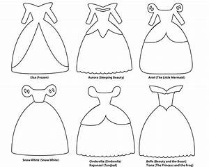 6 paper dress cutout templates for 8 disney princess for Cut out character template