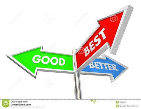 Good Better Best Three Road Street Sign Choices Stock