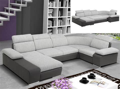 canape bicolore design canapé d 39 angle convertible en tissu et simili cyrano