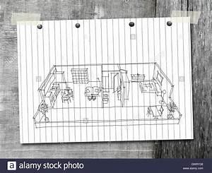Haus Zeichnen 3d : 3d innenraum freihand skizze zeichnen m blierten haus wohnung auf wei en gestreiften papier ber ~ Watch28wear.com Haus und Dekorationen