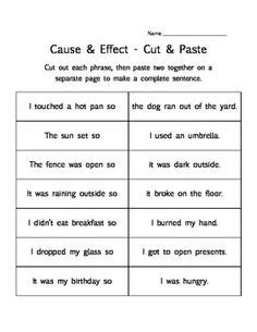 cause and effect worksheet reading comprehension