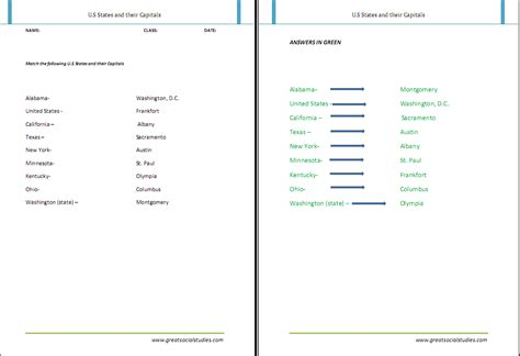 worksheets states and capitals matching worksheet