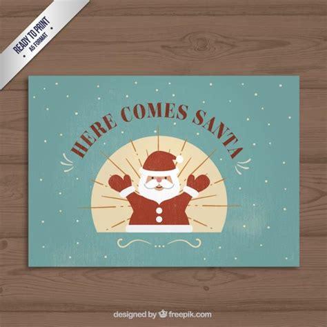 Santa Claus Card By Benchart Vectors Eps Vintage Santa Claus Card Vector Free