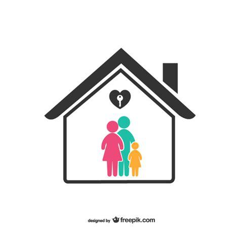 symbol familie bunte familie mit haus symbol der kostenlosen