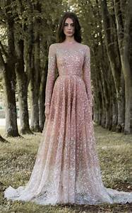 metallic beaded pink long sleeve wedding dress paolo With long sleeve blush wedding dress