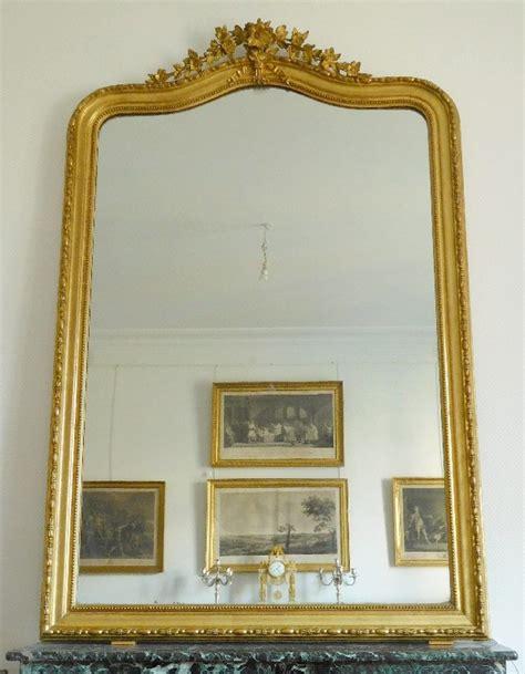 miroir de cheminée tr 232 s grand miroir de chemin 233 e cadre en bois dor 233 glace
