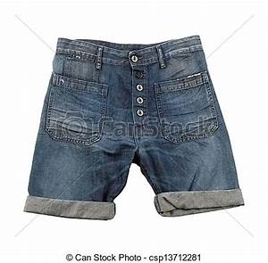 Pictures of Denim shorts with hem isolated on white ...