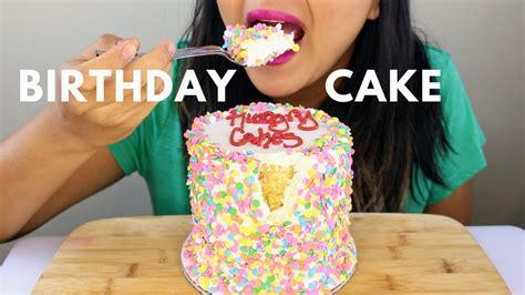 confetti birthday cake asmr eating sounds  zoom