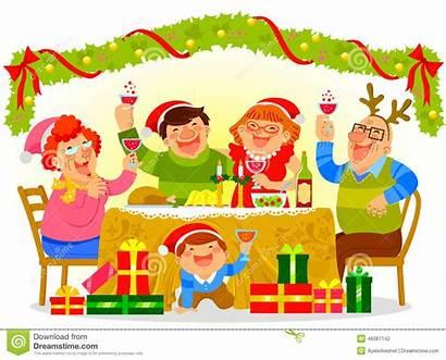 Dinner Clipart Familie Weihnachten Celebrating Kerstmis Het