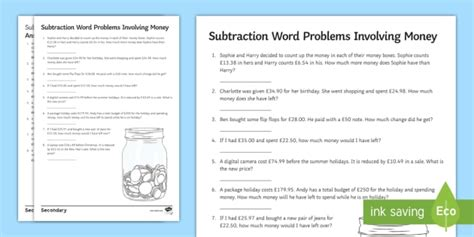 subtraction with money word problems worksheet activity sheet money