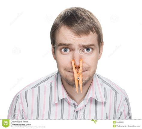 pince a linge nez with clothespin on his nose stock image image 34490009